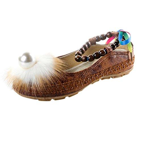 de Zapatos Tobillo por Zapatillas Mujeres Sandalias Perla Casa Damas Zapatos Plano Verano Estar Marrón Chanclas WINWINTOM y Casual Mujer Chancletas Moda Bordado SAz0w