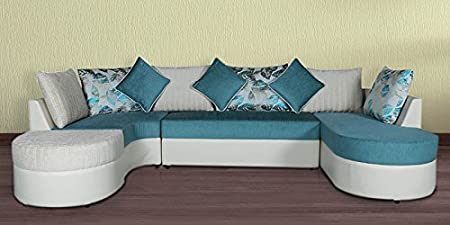 Zikra Fabric U Shape Sofa Solid Sal Wood Sofa, White And Green Colour
