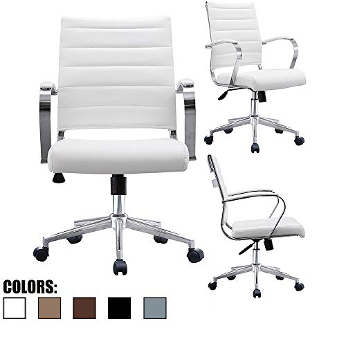 2xhome White Contemporary Modern Mid Back Ribbed PU Leather Swivel Tilt Adjustable Chair Designer Boss Executive Management Manager Office Conference Room Work Task Computer Lumbar Support Comfortable