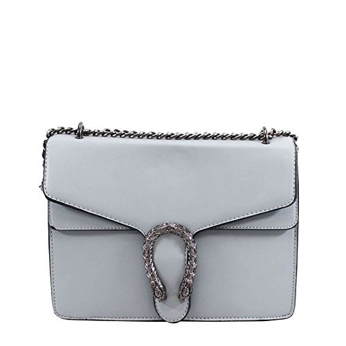 Faux Chain Fashion Detail Light Horseshoe Ladies Bag Strap Shoulder Blue Leather FqxngCd