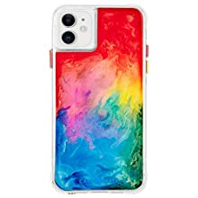 Case-Mate - iPhone 11 Case - Tough Watercolor - Real Ink Swirl - 6.1 - Rainbow Splash