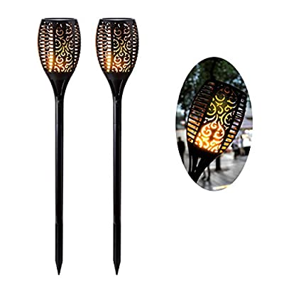 Solar Light Outdoor GKG 96 LED Solar Path Torches Lights Outdoor Waterproof Solar Tiki Torch Light Dancing Flame Light for Yard Garden Driveway Pathway Pool (2 Pack)