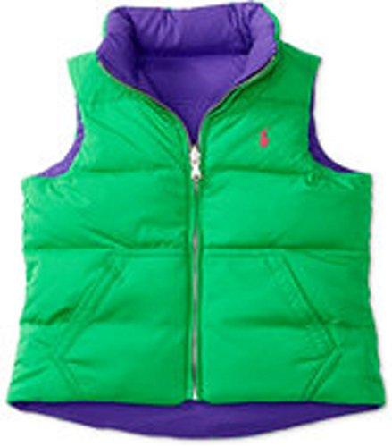 (RALPH LAUREN Reversible Down Zip Vest Medium Girls Vibrant Purple)