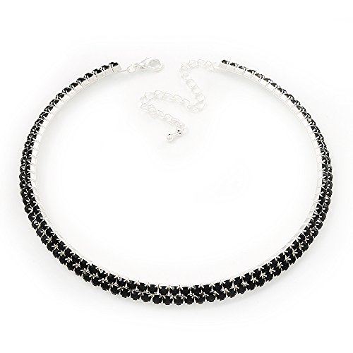 2-Row Jet Black Austrian Crystal Choker Necklace (Silver Plated) -