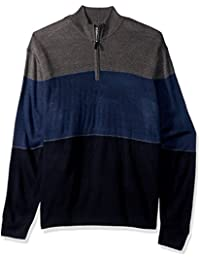 Men's Big and Tall Quarter Zip Soft Acrylic Color-Block...