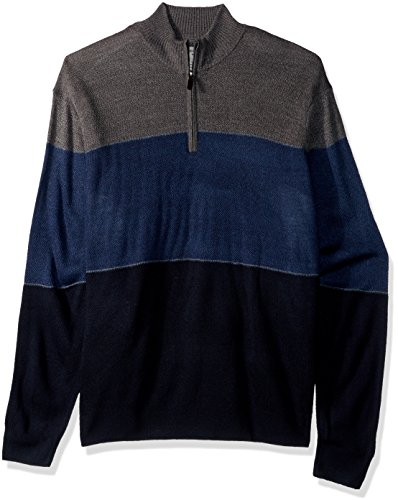 Dockers Acrylic Soft (Dockers Men's Big and Tall Quarter Zip Soft Acrylic Color-Block Sweater, Navy, 2X-Large Tall)