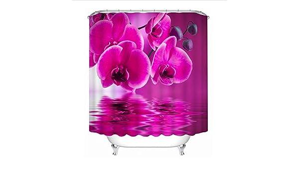 WIXIJAWR Cortinas De Ducha 3D Hermosas Flores Rojas Patrón Baño Cortina Impermeable Baño Lavable Cortina Productos De Baño, 200X200 Cm: Amazon.es: Hogar