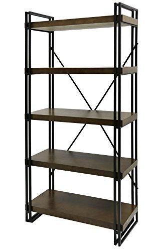 Wall Bookcase Mahogany Cabinet - Collective Design 720354122813 Industrial Design Mahogany Book Shelf-Dark Gun Metal Frame Bookcase Brown