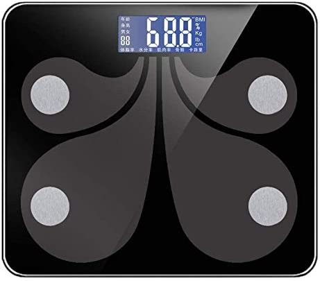 HJTLK Digital Bathroom Scales,Weighing Scale High Precision Bluetooth Scale,Bathroom Smart Scale Body Weight Scale,180Kg/400Lb Black
