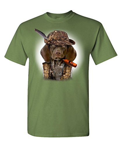 - German Pointer - Hunting Dog pup Shorthair - Mens Cotton T-Shirt, M, Military