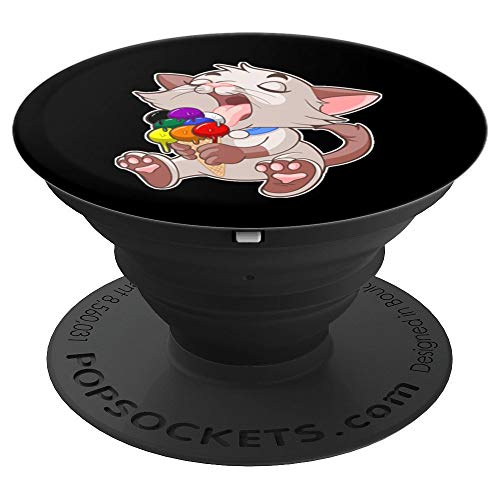 - Straight Ally LGBTQ Ice Cream Cat Licking Cone Gay Pride PopSockets Grip and Stand for Phones and Tablets