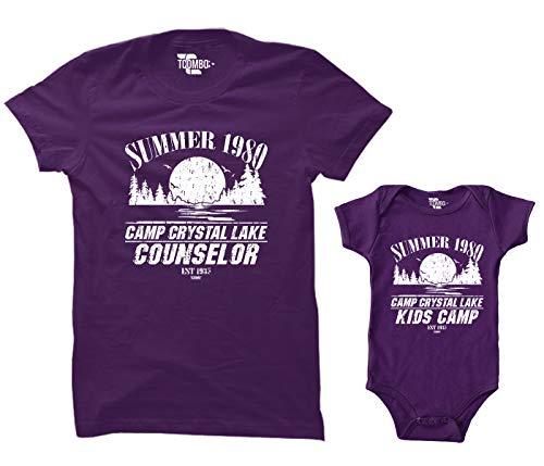 Camp Crystal Lake Counselor/Camp Crystal Lake Kids Camp Matching Bodysuit & Women's T-Shirt (Purple/Purple, XX-Large/12 -