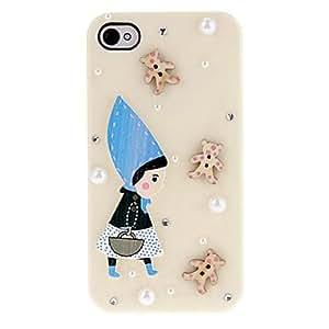 Estilo de dibujos animados de un Chica en el sombrero azul y peque?as joyas Cubierta dura del caso con el pegamento para el iPhone 4/4S