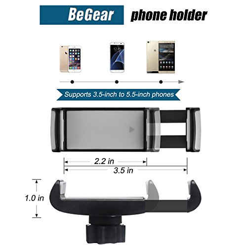 Car Mount, Universal Flexible Arm Windshield Car Phone Holder with Strong Suction Cup for iPhone X SE 7 Plus 6s 6 Plus 6 5s 5 4s 4 Samsung Galaxy S9 Plus S8 Note S7 Edge LG Nexus Sony Nokia and More by BeGear (Image #2)