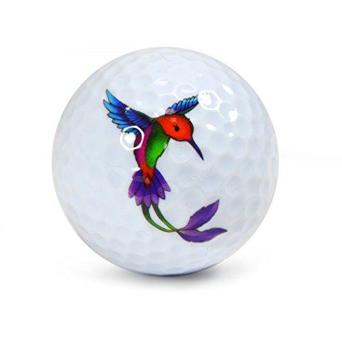 Pelotas de golf de la novedad subterránea de Nicks - Tubo de exhibición del paquete de 3 colibríes # NUG1