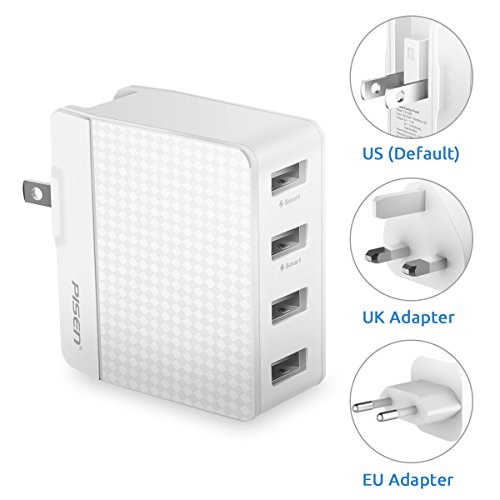PISEN 4 Port USB Wall Charger, Universal Travel Adapter with US UK EU Foldable AC Plug 20W 5V 4A Total Output for iPhone, IPad, Samsung Galaxy, Nexus, Tablets and Android Smartphones (White) by PISEN