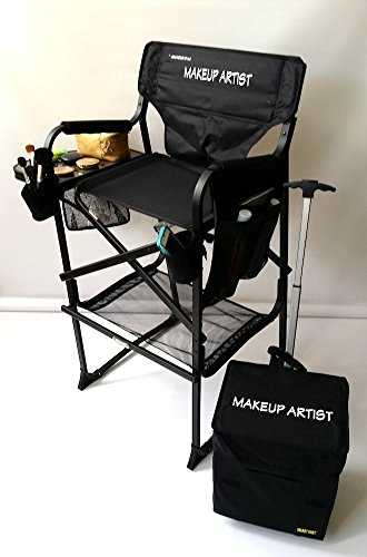 Oasis 65TTPro NEW IMPROVED MAKEUP ARTIST Professional Tall Chair -HEAVY DUTY w Storage Side-Bags-2 Brush Holders-Bottom Mesh Product-10 Years Warranty- 29 SEAT HEIGHT