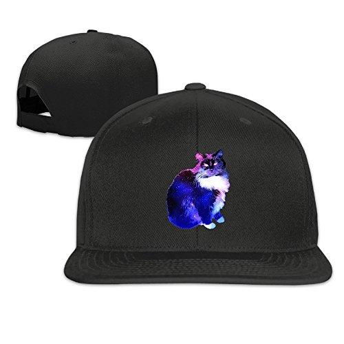 Transformers Costume Gif (Custom Unisex Starry Night Sky Cat Flat Brim Trucker Hats Caps Black)