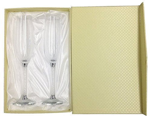 Amlong Crystal Wedding Champagne Flutes, Set of 2 Glasses