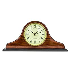 Mantel Clock 7.0 H x 14.5L x 3.5 W Quartz, Decorative Shelf Clock, Fireplace Wood Antique Vintage Clocks, Battery Operated (Battery NOT INCLUDED)