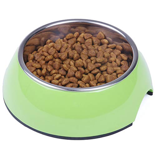 Super Design Dog Cat Bowls Melamine Stand Stainless Steel Bowls for Small Medium Large Dogs and Cats M Green