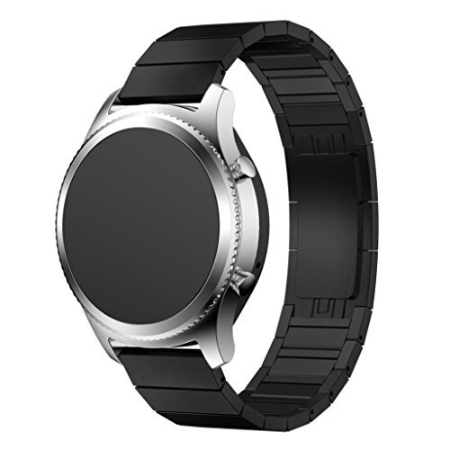 Metal Classic Belt (Editor's Choice Memela(TM)21MM For Samsung Gear S3 Classic Watch, Inspiration Metal Clasp Genuine Stainless Steel Wristwatch Bracelet Strap Belt Replacement (Black))