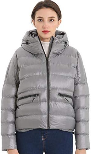 Guancheng Women's Short Hooded Foldable Lightweight Down Jacket