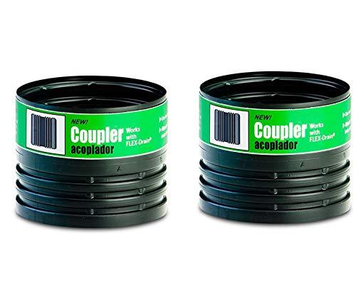 4 Inch Female Coupler - Flex-Drain 55020 Drain Pipe Coupler Adapter, Female to Female - 2 Pack