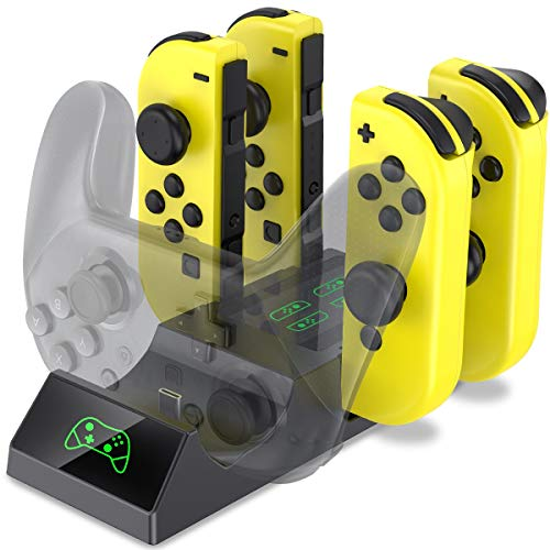 BEBONCOOL Controller Charger for Nintendo Switch, Switch Joy-Con Controller and Pro Controller 5-in-1 Charging Dock with LED Indicators and Type C Charging Port