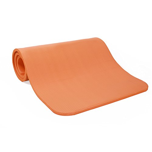 "The Combo Yoga Mat 1 5mm Luxurious Non Slip Foldable: Adeco YOGA MAT With Carry Strap, 1/2"" Thick ,Orange"