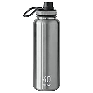 Takeya Originals Insulated Stainless Steel Water Bottle, 40 oz, Steel