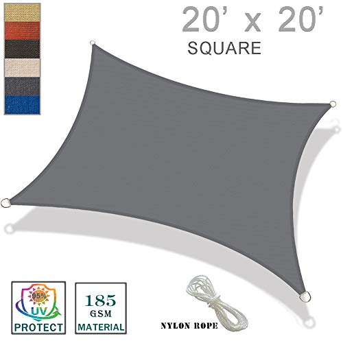 SUNNY GUARD 20 x 20 Charcoal Square Sun Shade Sail UV Block for Outdoor Patio Garden