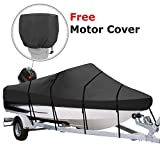 RVMasking Waterproof 600D Polyester Trailerable Full Size Boat Cover Black for 17'-19'L V-Hull Runabouts Outboards and I/O Bass Boats, Free Motor Cover Include