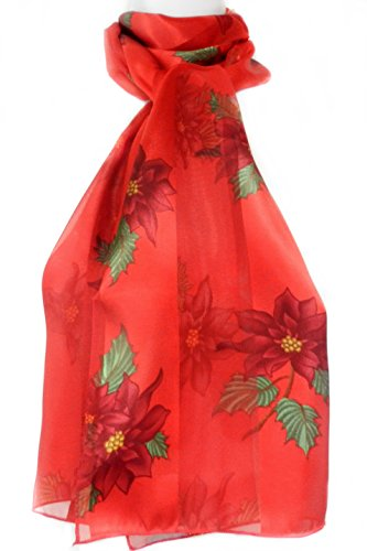 Double Poinsettia - Christmas Scarf - Single & Double Poinsettias on Red by Imagine If