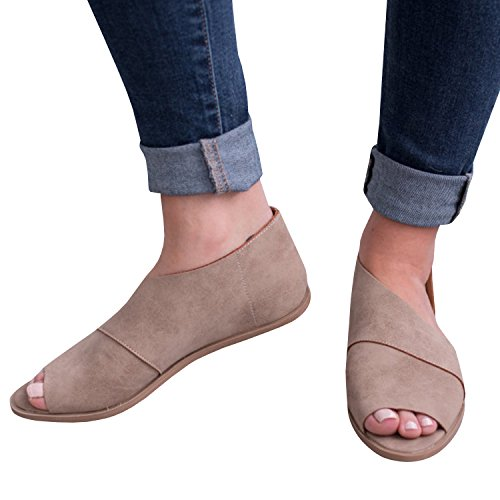 Amazon.com | FISACE Womens Cut Out Casual Slip On Loafer Open Toe Flats Low Heel Dressy Ankle Boot | Loafers & Slip-Ons