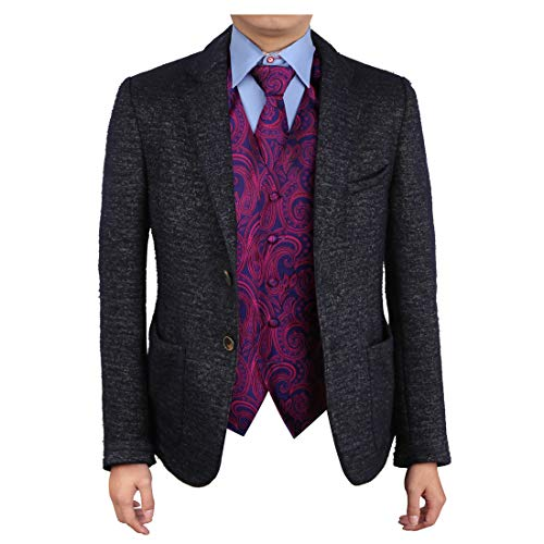 Epoint EGD1B01D-3XL Purple Blue Patterns Vest Microfiber Dress Tuxedo Vest Neck Tie Set Designer Presents (Set Designer Presents)