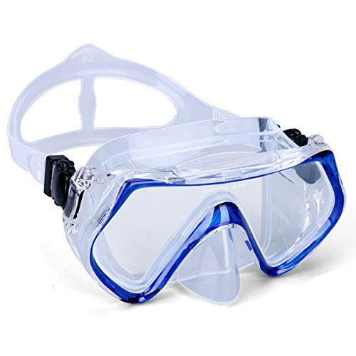 Supertrip Snorkeling Freediving Mask Adult Panoramic Scuba Diving Goggles Blue