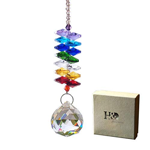 H&D 30mm Chandelier Crystals Ball Prisms Rainbow Octogon Chakra Suncatcher for Gift