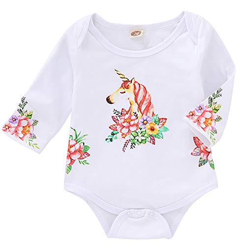 Infant Toddler Baby Girls Romper Unicorn Floral Print Bodysuit Long Sleeve Fall Clothes Set (White, 12-18 Months)