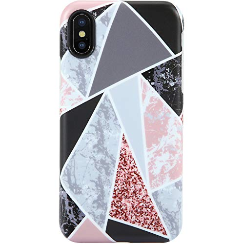 VIVIBIN iPhone X Case,iPhone XS Case,Cute Geometry Multi-colored Marble for Girls Women Clear Bumper Soft Silicone Rubber Matte TPU Cover Slim Fit Best Protective Thin Phone Case for iPhone ()