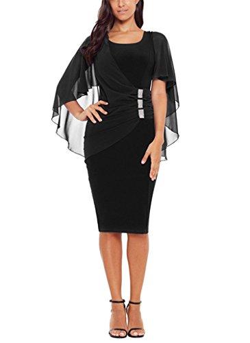 - Bulawoo Womens Sexy Bodycon Club Dresses Chiffon Short Sleeve Ruched Waist Detail Cape Slim Fit Midi Dresses XX-Large Black