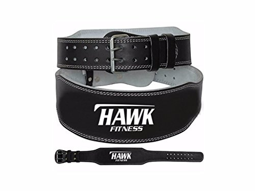 Hawk Fitness Leather Weight Lifting Belt Power Lifting Belt Lever Double Prong Single Gym Crossfit Training Black, 1 YEAR WARRANTY!!! - Levers Top Cross