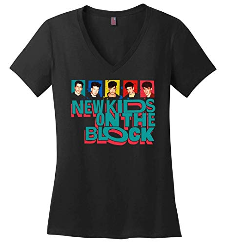 New Kids On The Block The Mixtape Tour 2019-Ladies Perfect Weight V-Neck Black (New Kids On The Block T Shirts Vintage)