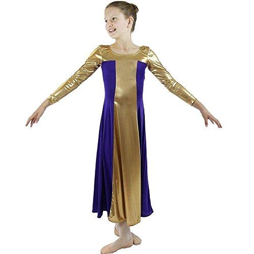 4ba65f5564efd Danzcue Girls Metallic Color Block Long Sleeve Praise Dance Dress ...