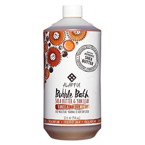Alaffia - Everyday Shea Bubble Bath, For All Skin Types, Soothing Support for Deep Relaxation and Soft Moisturized Skin with Shea Butter and Yam Leaf, Fair Trade, Vanilla Citrus Mint, 32 Ounces