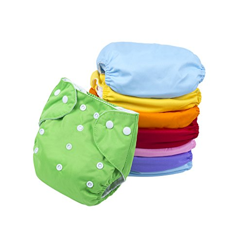 BIG ELEPHANT 8 Pack Solid Color Baby Toddler Adjustable Reusable Cloth Pocket Diapers