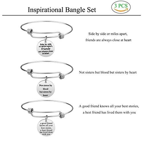 iJuqi Charm Charm Bracelet - 3 PCS Stainless Steel Expendable Inspirational Bangle Bracelets BFF Jewelry Set Graduation Gifts Birthday Gifts (3 Pcs- White) by iJuqi (Image #2)