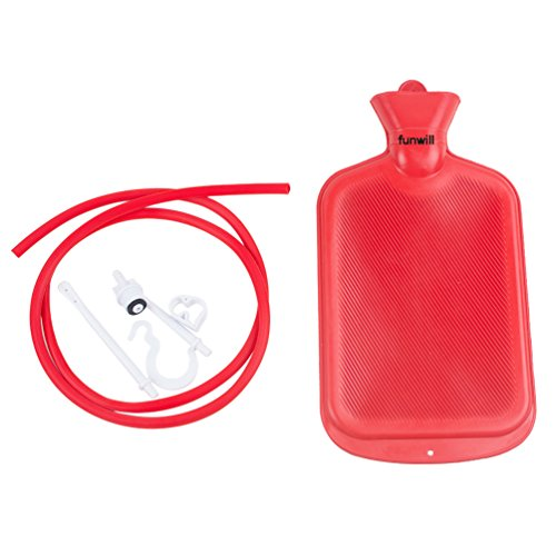 Funwill Home Syringe Enema Bag Colon Anal Douche Cleansing Kit Rubber Personal Health Cleanse Hot Water Bottle 2000ML(2 Quart) Syringe Bag