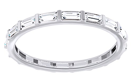 AFFY Baguette Cut White Natural Diamond Eternity Band Ring In 14K Solid White Gold (0.5 Ct), Size-6 (Band Baguette Ring Diamond Eternity)