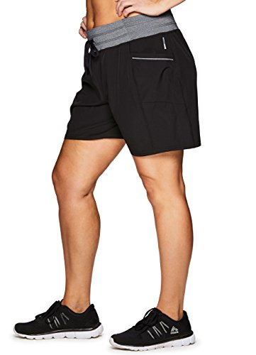 RBX Active Women's Plus Size Woven Short w/Knit Waist Black 3X